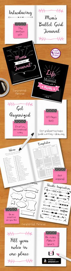 "A Mom's Bullet Grid Journal to help organize life in a fun and personalized way. A perfect gift for mothers.150 pages, 8""x10"" book, dot grid pattern to help guide writing and drawing. Great for to-do lists, calendars, doodles, and much more."