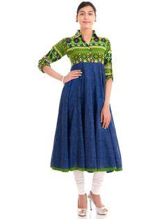 Cotton Blue Shirt Anarkali Kurta #kurtis #kurtas
