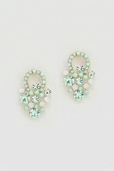 Mintylicious Crystal Sabine Earrings on Emma Stine Limited I Love Jewelry, Statement Jewelry, Jewelry Box, Jewelry Accessories, Fashion Accessories, Mint Earrings, Buy Earrings, Earrings Online, Rhinestone Earrings
