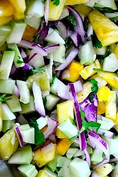 Cucumber Salad Recipe with Fresh Pineapple and Cilantro (Reduce carb load by leaving out pineapple; may try blueberries. Add basil and mint)