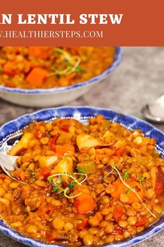 Enjoy this hearty Vegan Lentil Stew, it is perfect comfort stew. It is loaded with carrots, potatoes, celery, and full of flavor. This is the best vegan lentil stew ever! Vegan Dinner Recipes, Vegetarian Recipes, Healthy Recipes, Lentil Recipes, Savoury Recipes, Stewed Potatoes, Lentil Stew, Vegan Soup, No Calorie Foods