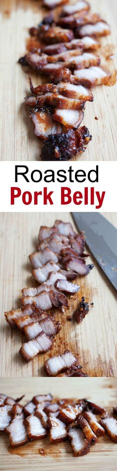 Chinese roasted pork belly - BEST pork belly or char siu ever. Marinated with honey, hoisin sauce, a zillion times better than Chinatown | http://rasamalaysia.com