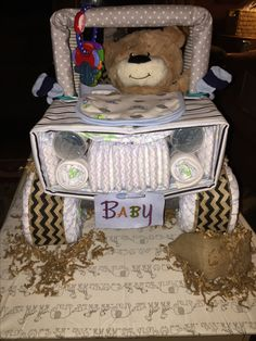 Jeep diaper cake front view