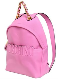 MOSCHINO - LEATHER BACKPACK WITH LOGO DETAIL - LUISAVIAROMA - LUXURY SHOPPING WORLDWIDE SHIPPING - FLORENCE