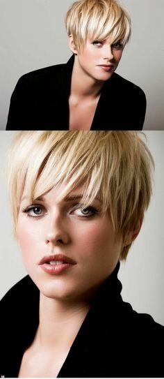 coupe de cheveux femme très courte pixie aux mèches blondes claires et plus foncées, coupe cheveux court, frange effilée qui arrive jusqu'aux yeux