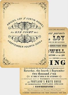 Great Invites! Set a great theme for a wedding...