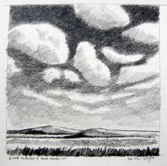 Chris Stoffel Overvoorde, Along Highway 3 near Havre, Montana, graphite drawing on paper