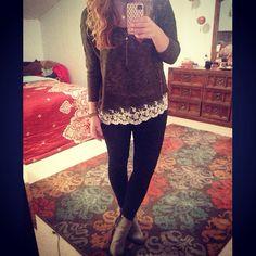 Lace trim sweater #stylebyk #kohls #juniors #booties #olivegreen #lace