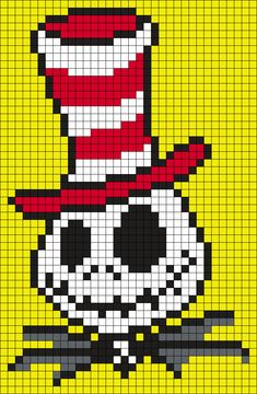 Jack_in_a_hat_from_The_Cat_in_the_Hat_(Square) by Maninthebook on Kandi Patterns Kandi Patterns, Pearler Bead Patterns, Bead Loom Patterns, Perler Patterns, Beading Patterns, Alpha Patterns, Holly Hobbie, Cross Stitch Designs, Cross Stitch Patterns