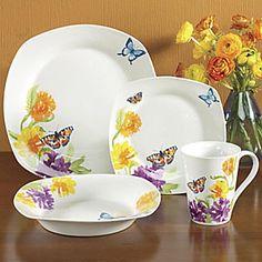 16-piece Butterfly Garden Dinnerware Set