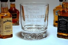 Engraved Crystal Glass + 4 Miniature Jack Daniels in Silk Gift Box