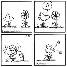 Woodstock Smelling Flower and Sneezing From Allergies