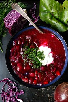 The Best Vegan Borscht /2tbsp olive oil 1 onion, chopped 2 celery sticks, chopped 1 leek, chopped 2 medium carrots, cubed 1 bay leaf 2 garlic cloves, chopped 3 medium beetroot, peeled and cubed 2 medium potatoes, peeled and cubed 1½l water/vegetable stock/broth (6 cups) 1 small red cabbage, shredded 1 can butter beans (1½ cup) sea salt & black pepper 2tbsp raw apple cider vinegar