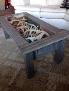 Coffee table I made to display my shed antlers! Coffee table decorating ideas can turn that cluttered tabletop into a design feature to be proud of. Enjoy the best designs for Country Decor, Rustic Decor, Farmhouse Decor, Rustic Table, Industrial Farmhouse, Shed Antlers, Elk Antlers, Deer Decor, Deer Horns Decor