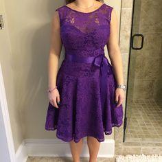 Purple Bridesmaid / Cocktail dress Purple lace cocktail or bridesmaid dress. Size 8, never altered Jordan Dresses