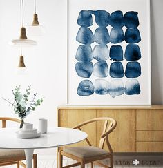 Modern art. Watermarks in indigo blue. Mid century modern artwork.