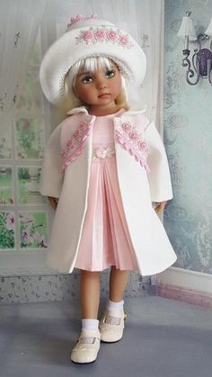 """DRESS,COAT SET MADE FOR EFFNER LITTLE DARLING 13"""", MY MEADOW AVERY 14""""DOLL"""