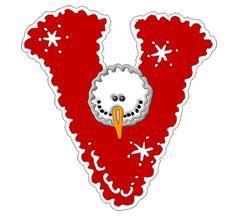 *✿**✿*V*✿** Christmas Alphabet, Christmas Clipart, Christmas Themes, Cute Alphabet, Alphabet And Numbers, Frosty The Snowmen, Snowman, Make A Flake, Cut Image