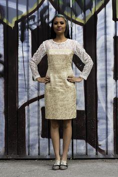 Vestido diseñado a partir de textil reutilizado.