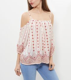 7abbc48fe9970 White Tile Stripe Cold Shoulder Top