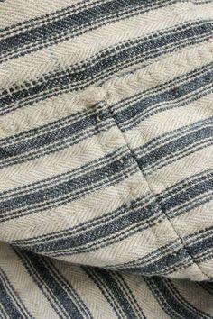 Wonderful French linen ticking fabric ~ Gorgeous antique tick mattress cover fabric ~ beautiful heavy weight , indigo blue stripes  ~ www.textiletrunk.com