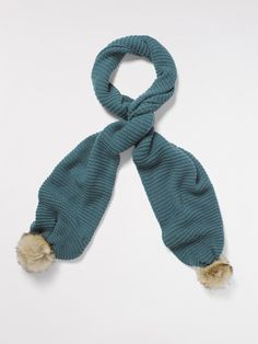 Wrap up in style with this chunky knit wool blend scarf. With faux fur pom pom trims, this is the ultimate winter accessory. Faux Fur Pom Pom, Pom Pom Trim, Winter Accessories, Wool Blend, Textiles, Knitting, Knits, Blue, Christmas