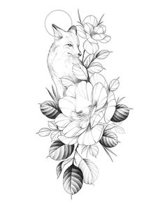 Wolf and flowers Kunst Tattoos, Bild Tattoos, Cute Tattoos, Beautiful Tattoos, Flower Tattoos, Body Art Tattoos, Small Tattoos, Sleeve Tattoos, Fox Tattoo Design