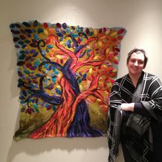 The musings and makings of Jan Waller, felt artist . Wool Felt Fabric, Fabric Art, Felt Wall Hanging, Felt Pictures, Wet Felting, Needle Felting, Wool Art, Handmade Felt, Felt Art