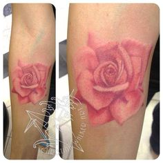 Pink rose tattoo I've never even considered another tattoo, but I love this.