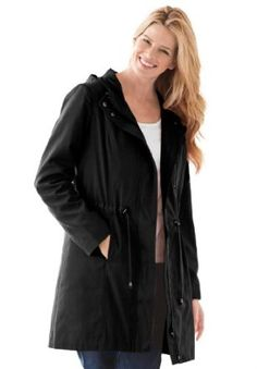 Woman Within Plus Size Jacket In Anorak Style With Figure Friendly Bungee Drawstring, Storm Flap