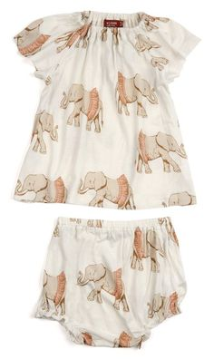 MilkBarn Baby Bamboo Dress and Bloomer Set - Tutu Elephant