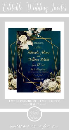 """All signals are pointing to the wedding and with our """"Romantic Floral Gold Wreath Wedding Invitation"""" everyone knows what the hour has struck. Your highest dreams will come true and you can show that to everyone. Whether beach, country or boho wedding, our romantic and modern wedding invitation fits perfectly with any kind of wedding. Do you want unique wedding invitations or an exciting custom-made product? Don't hesitate to contact us."""