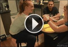 Hilarious girl punches self in face