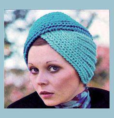 Items similar to PDF Vintage Womens Ladies Luxury Turban Hat Knitting Pattern, EASY Two-Tone War Time Jive Rockabilly Mod Boho Ethnic on Etsy Easy Knitting, Knitting For Beginners, Knitting Patterns, Crochet Patterns, Crochet Scarves, Knit Crochet, Crochet Hats, Vintage Knitting, Vintage Crochet