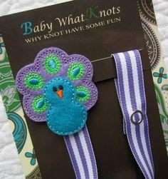 Girl Pacifier Clip, Peacock Pacifier Clip, Purple Turquoise Pacifier Clip, Pacifier Holder, pcpeacock01