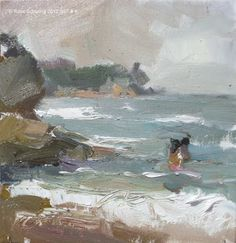Seascape summer Thailand #K Changing weather, painting by artist Roos Schuring