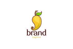 Logo for sale: Mango Logo by Huga, uploaded on Mango Logo Mango stylized with flat color processing. Mango Logo, Fruit Logo, Application Icon, Mango Fruit, Cafe Logo, Creative Logo, Flat Color, Logo Ideas, Branding
