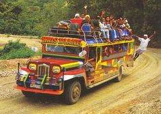 The Jeepney is the fun, colourful and cheap mode of transport in the Philippines. It has its origins with the military presence of the Amer. Philippines Culture, Philippines Travel, Visit Philippines, Manila, Subic, Jeepney, Exotic Beaches, Tropical Beaches, Filipino Culture