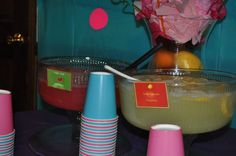 The Fresh beat band party for my daughter's 2nd birthday- The Groovy Smoothie-the drinks were Wiggly Giggly Watermelon cool aid and Sour Lemon Squeeze lemonade.