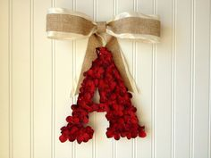Red hydrangeas, monogram decor, wreath with initial, christmas decor, christmas wreath, personalized decor by YourHandmadeWreath on Etsy