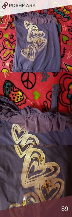 Donated to a foster childJUSTICE size 7 girls top. Great condition. Has one strap at shoulder. Heart sequinned design Justice Shirts & Tops Tank Tops