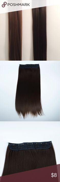 5 Clips Hair Extension #12 Item Details:  -New 22 inches synthetic hair extensions  -Weight: 128g  -5 Clips in a row   -High temperature resistant   -Able to be straightened   -Colors available: Black, Dark Brown, Medium Brown, Blonde, Light Brown, Chocolate Brown, Auburn   -Hard to be dyed   -Buy a 2-pack bundle with discounts  -Ship from U.S  -Please comb the hair till it's smooth enough because the hair could get knotted due to shipment. Accessories Hair Accessories