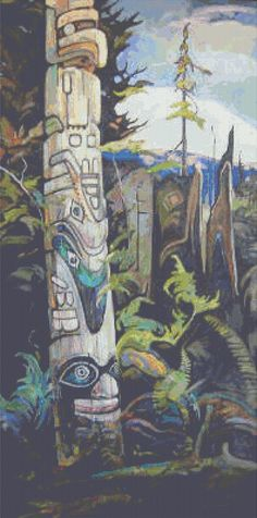 351can13pat Totem Canadian Painters, Canadian Artists, Emily Carr, Group Of Seven, Aboriginal Culture, North America, Cross Stitch, Classic, Painting