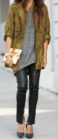 fall outfit ideas / olive bomber jacket + gray