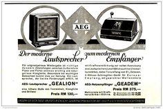 Original-Werbung/ Anzeige 1930 - AEG LAUTSPRECHER GEALION / NETZEMPFÄNGER GEADEM - ca. 190 x 120 mm