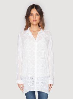 Johnny Was Clothing eyelet rayon georgette Cody Basic Button Down Blouse in White