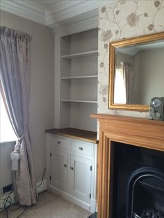 Bespoke alcove cupboard we installed incorporating drawers and a pine top. Home Library Decor, Home Decor, Alcove Cupboards, Bespoke, Pine, Bookcase, Drawers, Dining Room, Lounge