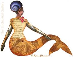 Calamitykim Kim Sherrod mermaid paper art doll rubber stamps stamping project