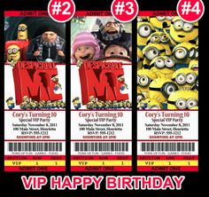 Despicable Me VIP BIRTHDAY INVITATION Ticket by PrintTypes on Etsy, $12.95