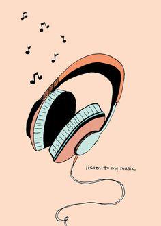 Listen to My Music- Headphone Art Print 5x7